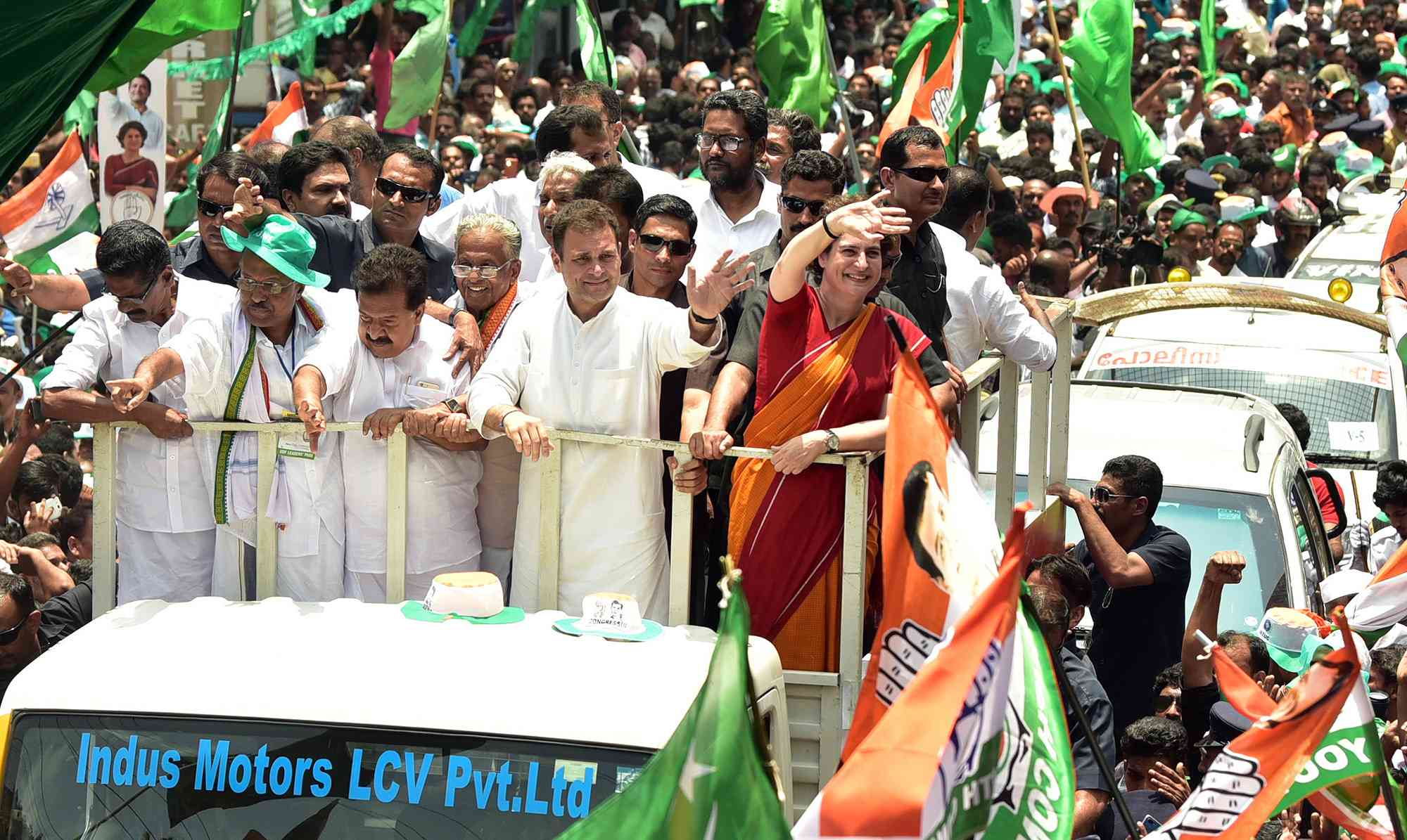 Rahul Gandhi and his sister Priyanka Gandhi during the road show in Wayanad on April 4. Photo credit: Satheesh
