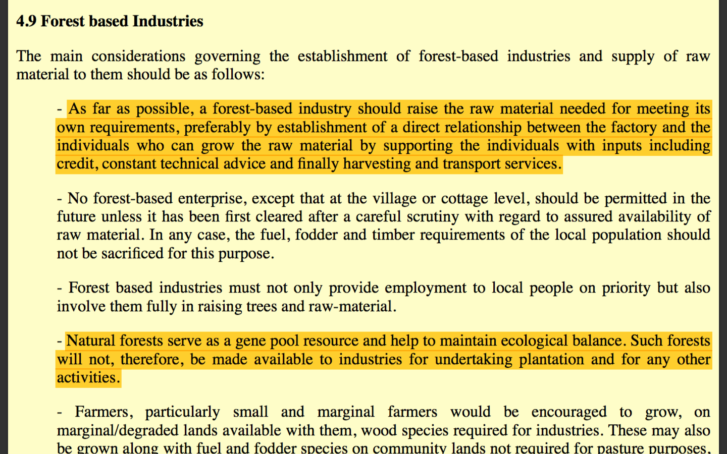 Extract of the 1988 National Forest Policy that banned the use of natural forests for plantations by private parties.