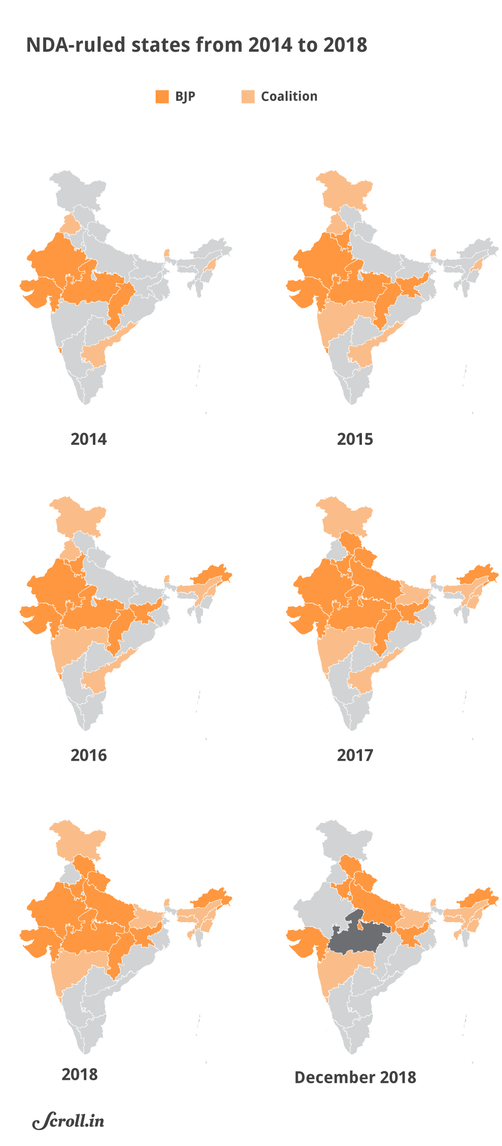 Political Parties By State Map.Assembly Polls 2018 Maps Show Change In Mp Rajasthan Chhattisgarh