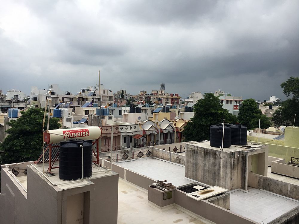 Solar water heaters on a rooftop in Rajkot.