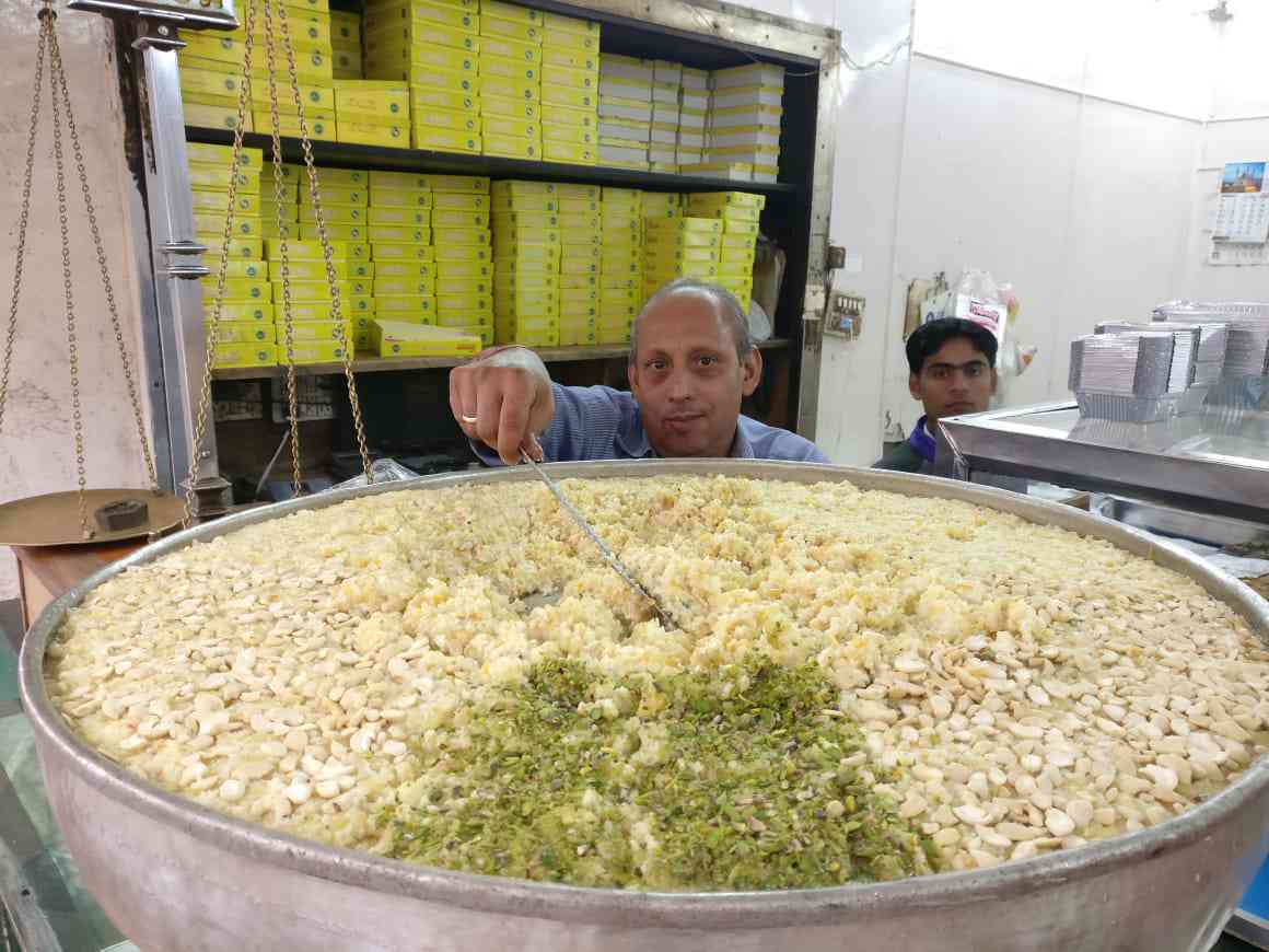 White carrot halwa at Old Delhi's Shireen Bhawan. Photo credit: Shoaib Daniyal.