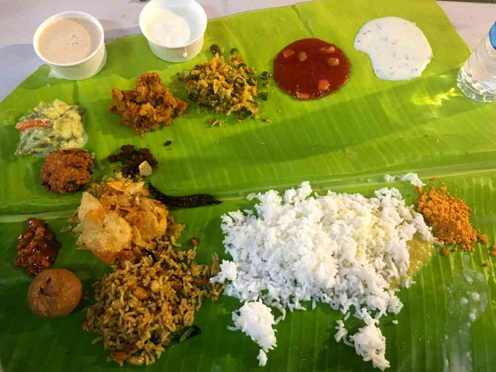The banana leaf lunch at Brahma Gana Sabha. Photo credit: Sruthi Ganapathy Raman.