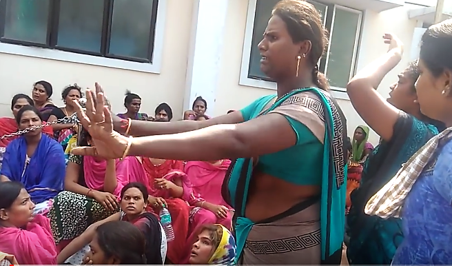 Transgender people protesting outside Kilpauk hospital.  Credit: You Tube/ Sathish Inayav