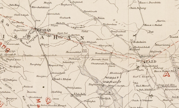 Detail from a map of Iran (1912) showing the unofficial demarcation line between the British and Soviet spheres of influence. Photo credit: British Library/India Office Records IOR/L/MIL/17/15/5, f 230