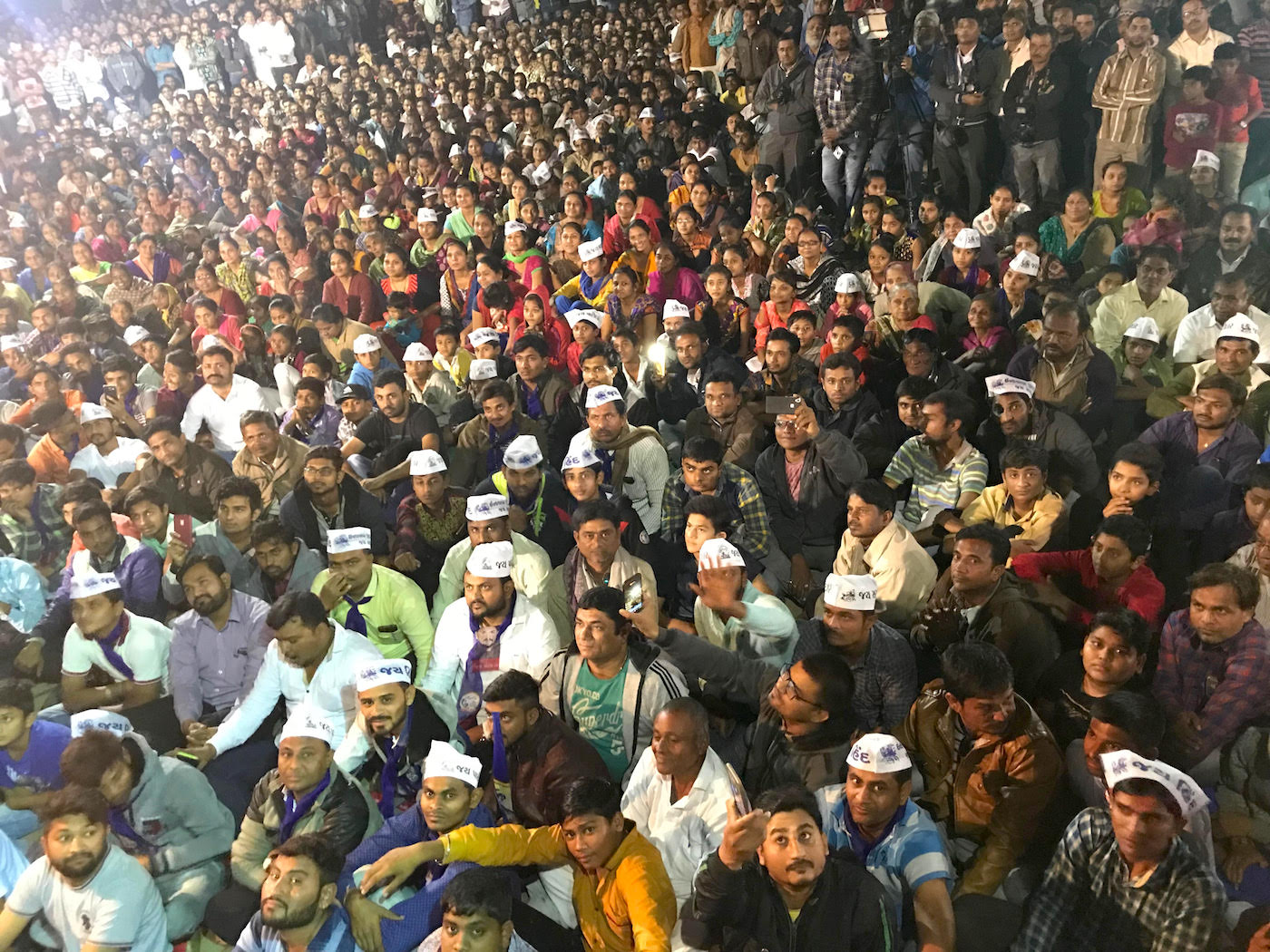 Hardik Patel's supporters wear caps that say 'Jai Hind, Jai Patidar'. Photo credit: Supriya Sharma
