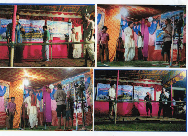Scenes from an anti-poaching play written and directed by local villagers. The theater troupe has been touring villages in and around the park to get their message out. Photo Credit: Ratan Rai