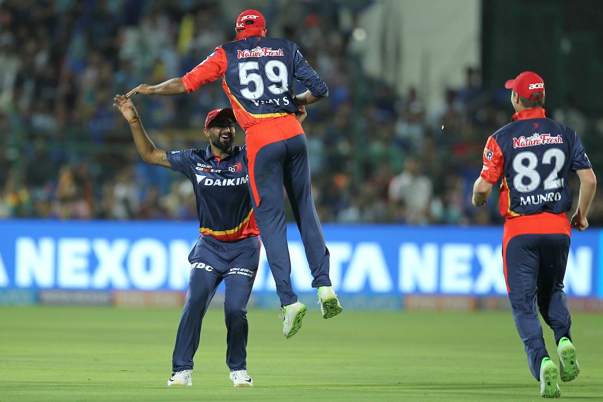 Delhi Daredevils players celebrate the wicket of D'Arcy Short| Image credit: Deepak Malik/SPORTZPICS