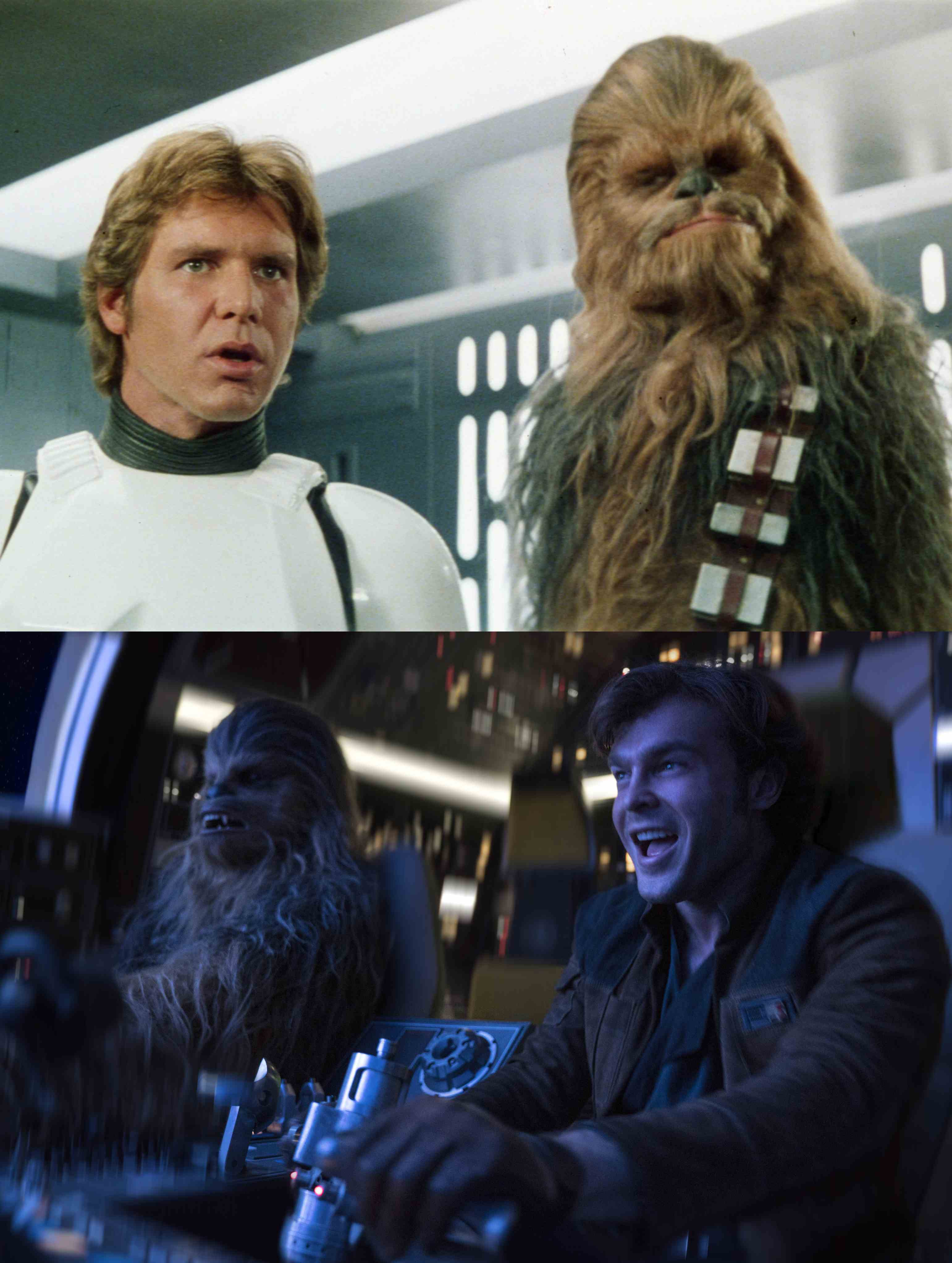 Harrison Ford and Peter Mayhew (above) and Aiden Ehrenreich and Joonas Suotamo (below) as Hans Solo and Chewbacca. Image credit: Lucasfilm.