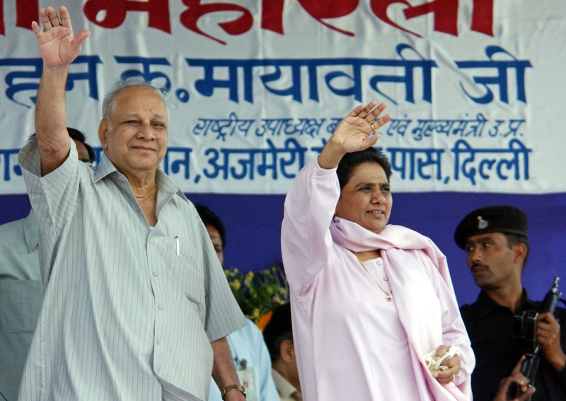 Kanshi Ram and Mayawati. (Photo credit: AFP).