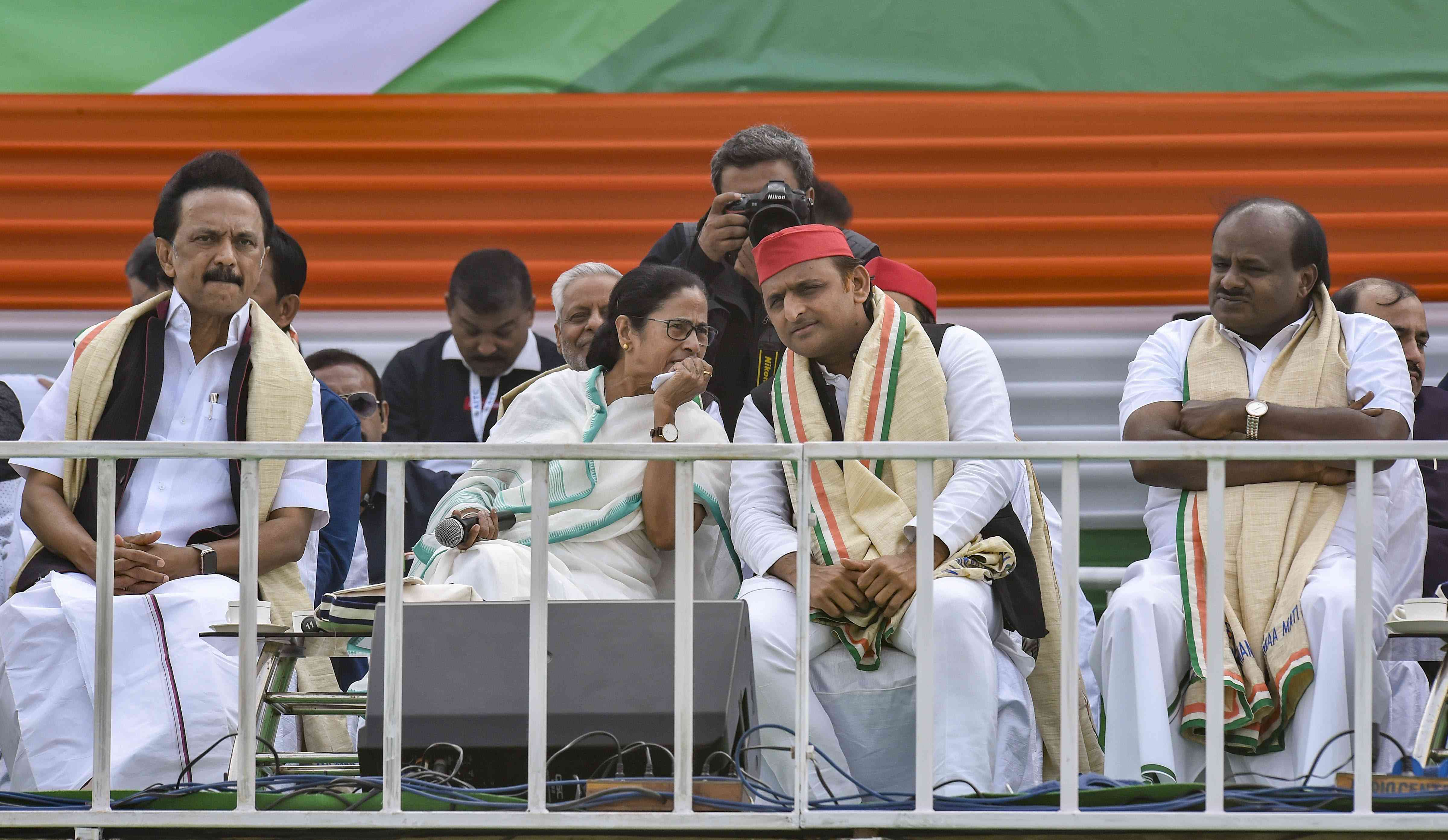 "West Bengal Chief Minister Mamata Banerjee, Samajwadi Party President Akhilesh Yadav, Karnataka Chief Minister HD Kumaraswamy and Dravida Munnetra Kazahagam President MK Stalin seen at the ""United India"" rally in Kolkata on January 19, 2019. Credit: PTI"