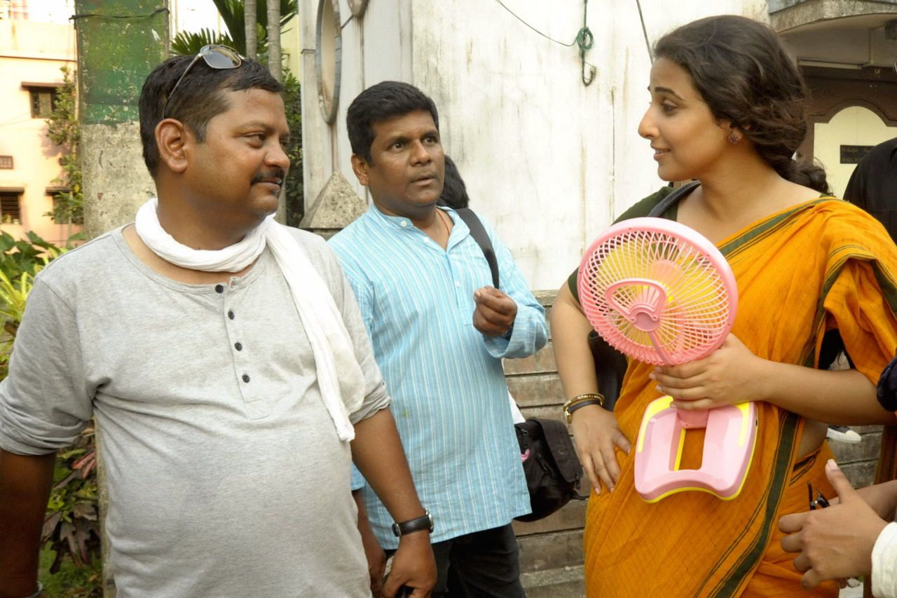Saubhik Das (left) with Vidya Balan on the sets of 'Kahaani 2'.