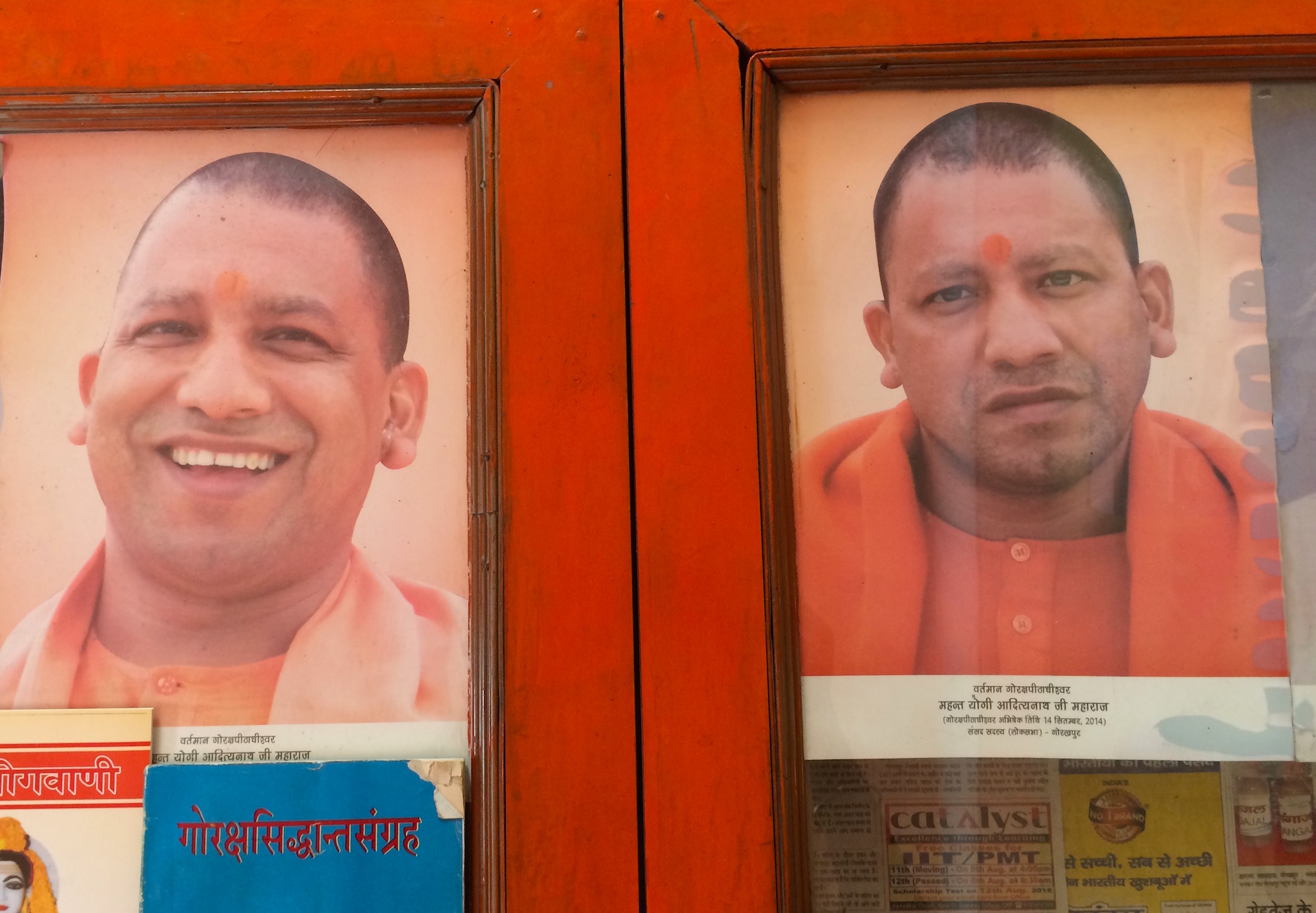 Posters of Adityanath available for sale at the Gorakhnath temple complex.