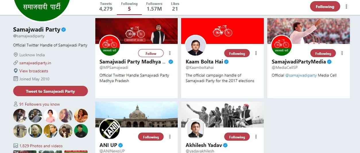 समाजवादी पार्टी का ट्विटर अकाउंट