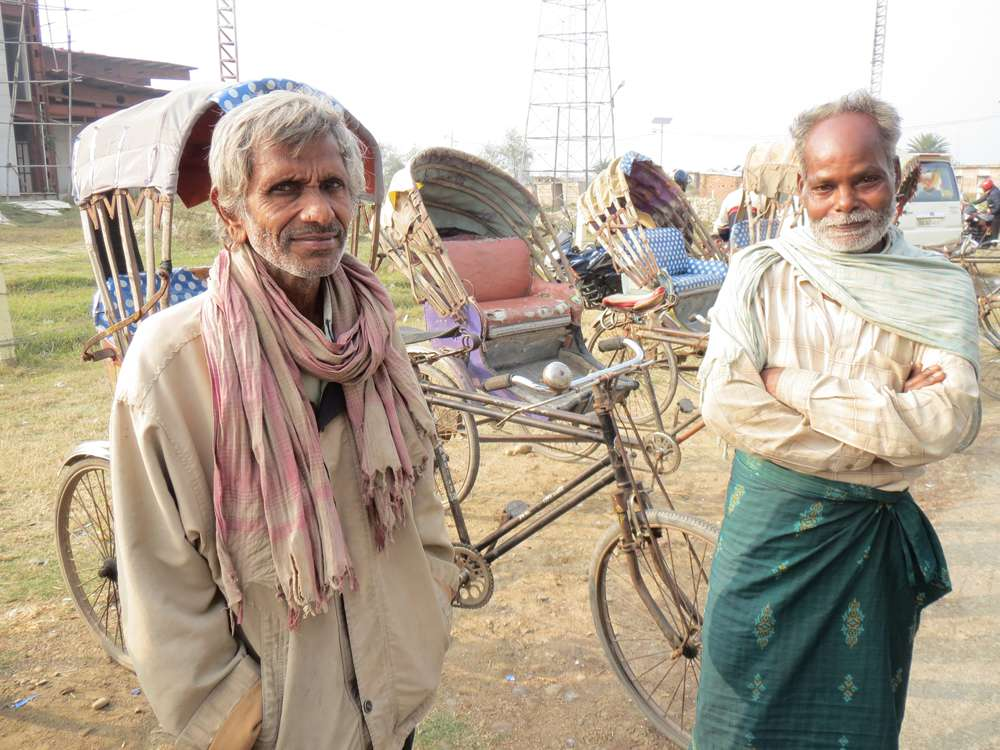 Rajendra Sah and Dev Das, who pull rickshaws in Janakpur, earn Rs 180 a day. Of this, they pay Rs 50 as rickshaw rent.