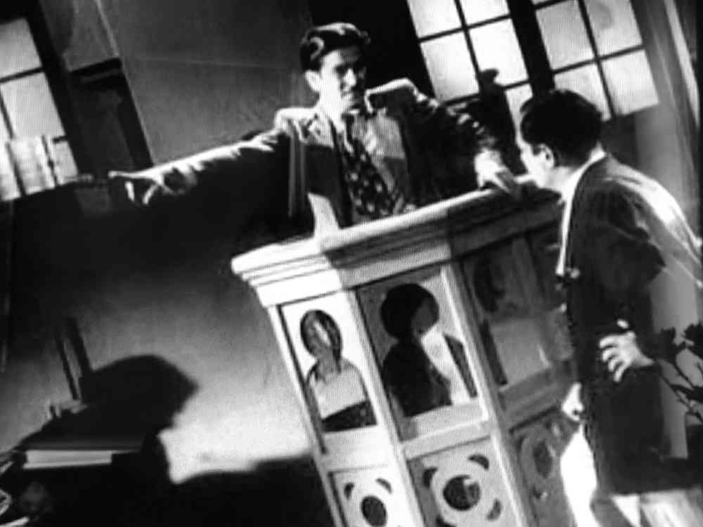 Raj Kapoor in the witness dock in Mehboob Khan's Andaz (1949). Courtesy Mehboob Productions Pvt Ltd/Hyphen Films Collection.