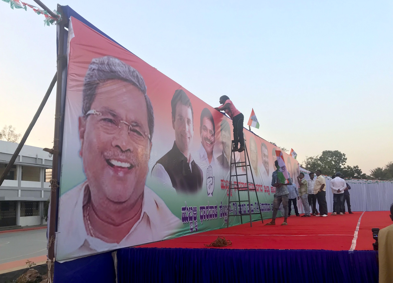 On the Congress party's hoardings, Siddaramaiah gets greater prominence than national president Rahul Gandhi.