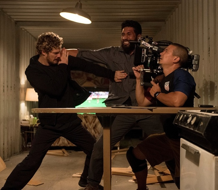 Finn Jones (left) on the sets of Iron Fist.