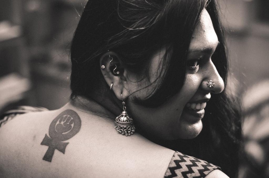Chennai's Sekar got her first tattoo, when she learnt that feminism has a symbol. Photo credit: Sanjukta Basu.