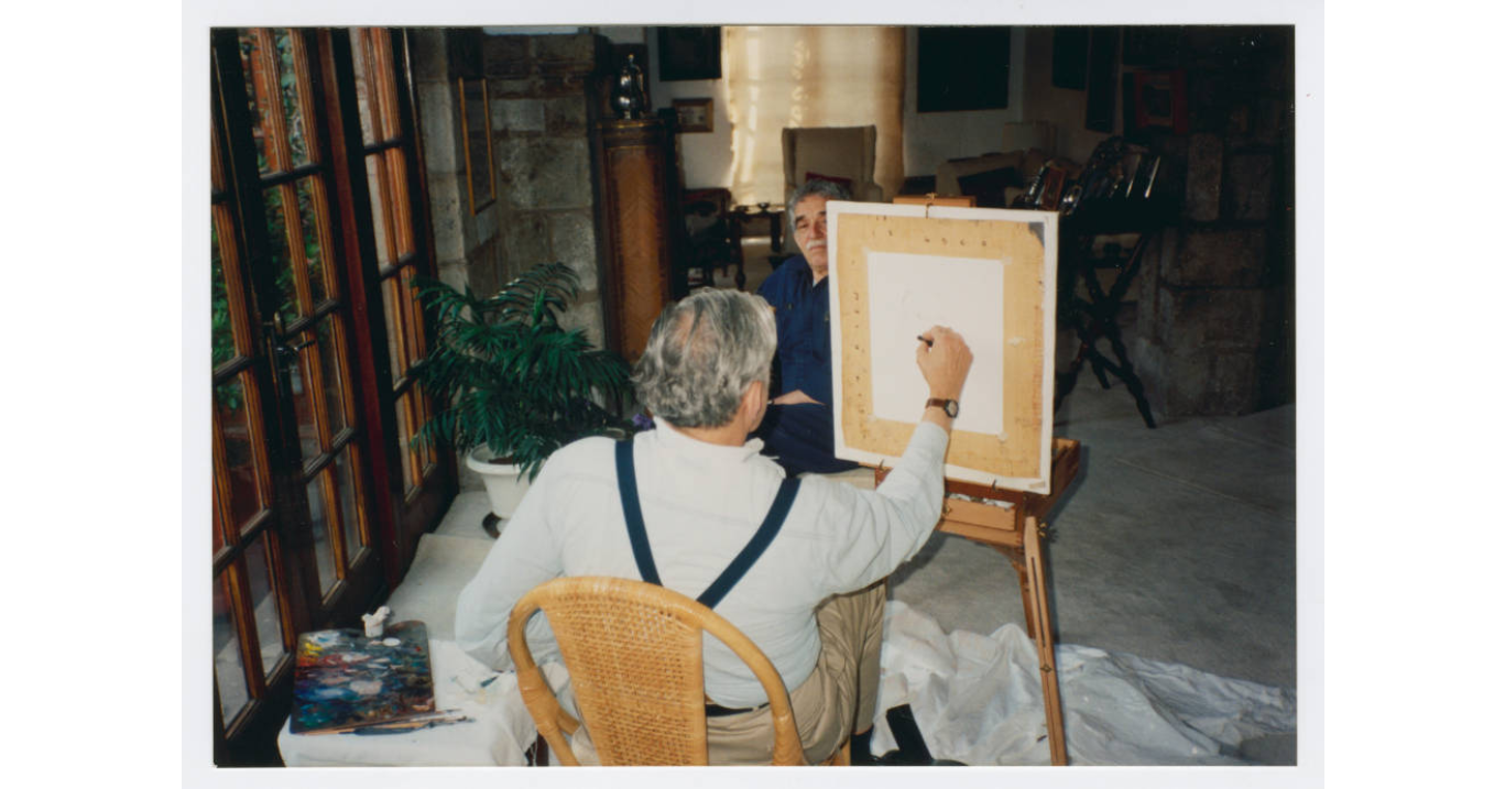 Gabriel Garcia Marquez being painted by Armando Morales, 1993 (Harry Ransom Center at The University of Texas, Austin)