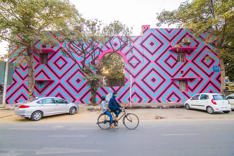 Australian artist Reko Rennie's 'Original Aboriginal', Block 10, Lodhi Colony. (Photograph by Akshat Nauriyal).