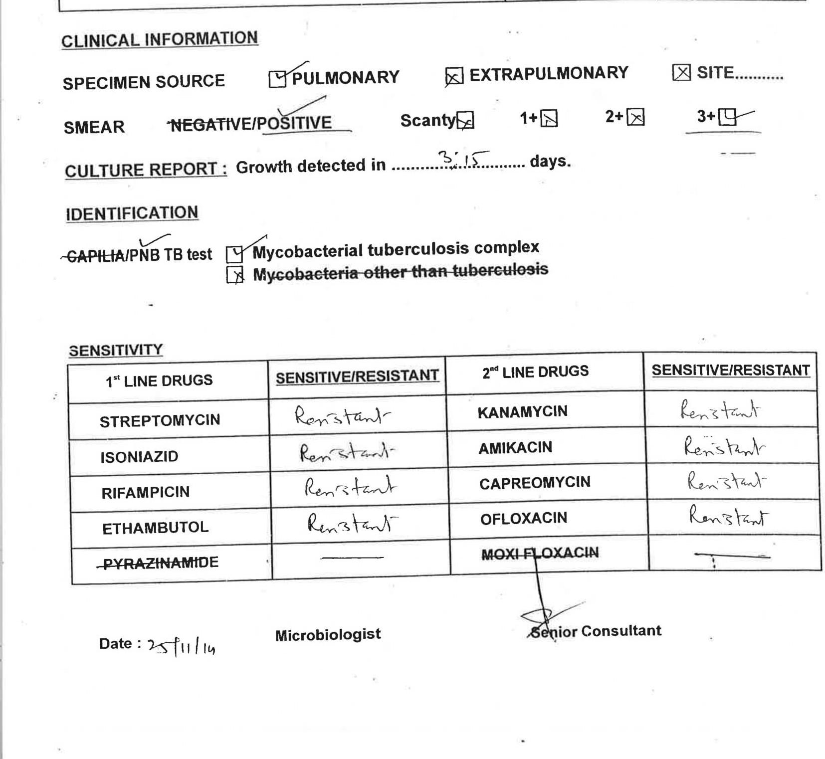 Priya's drug sensitivity test report from November 2014.