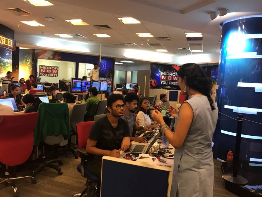 The Mirror Now newsroom. Credit: FayeDSouzaOfficial/Facebook.com