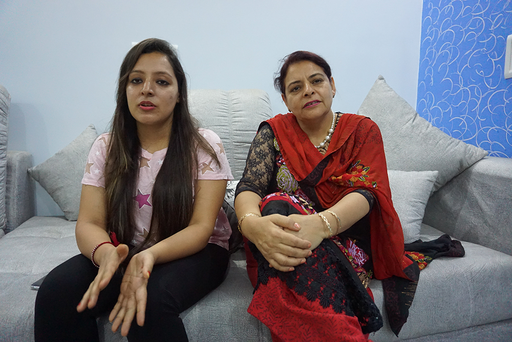 Mehak Malik with her mother Asha, one of the active organisers of the pre-matrimonial introduction. Asha Malik says the matrimonial market is now ruled by 'patri and package' where package stands for salary package of both men and women. If a woman earns well – and they often do – she will face problems finding a groom. Patri is a chart which predicts a candidate's future by planetary alignments at the time of birth. Photo credit: Aparna Kalra