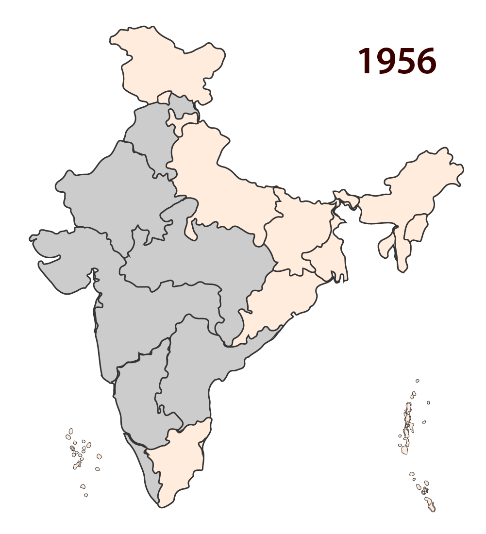 How the map of india was redrawn on the lines of language 1956 states across india are reorganised publicscrutiny Image collections