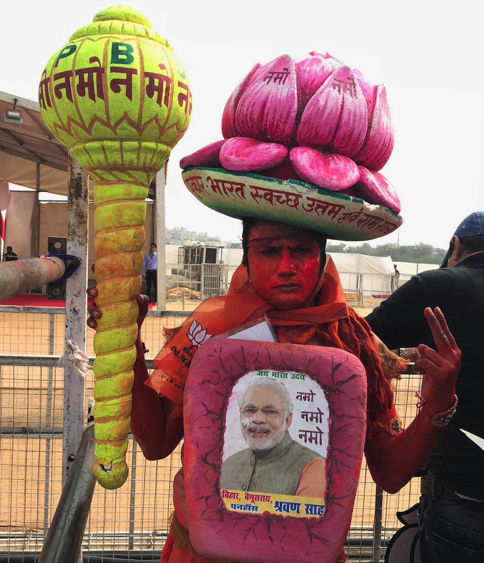 A supporter of Narendra Modi at the Kalol rally. Photo credit: Supriya Sharma