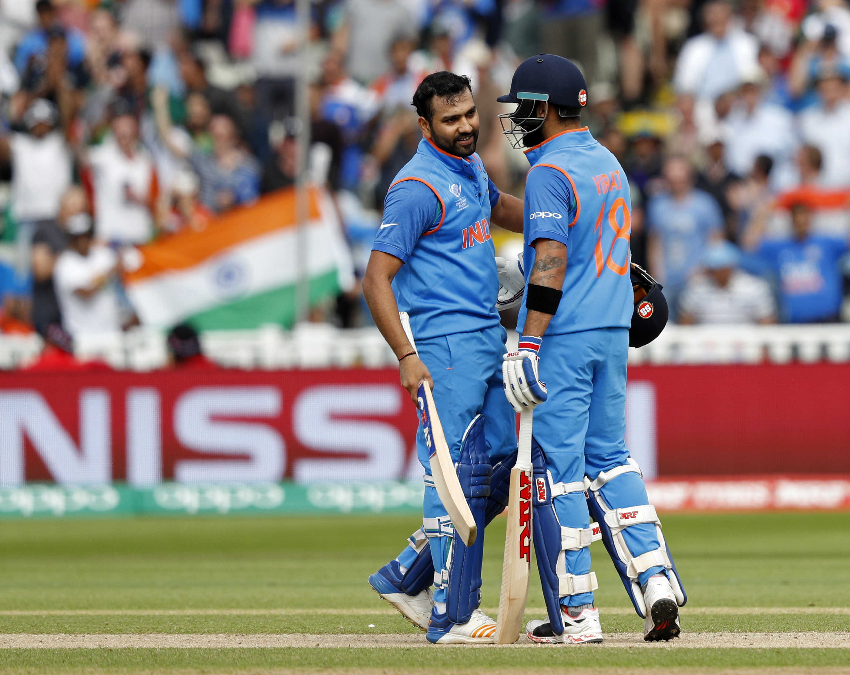 Rohit and Shikhar have shared two 100-run partnerships so far in the tournament, while Kohli has shared three-figure stands with both. Photo: AFP