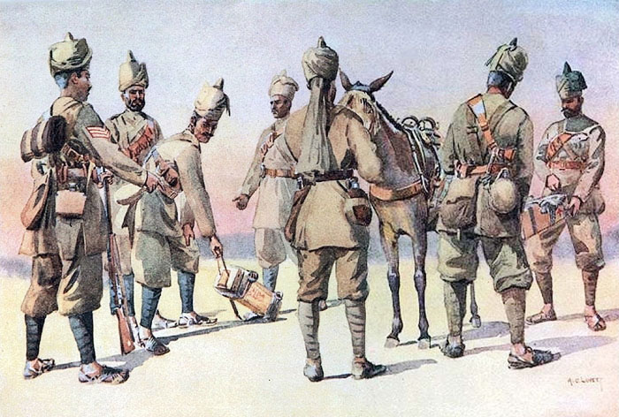 46th and 33rd Punjabis. Watercolour by Major Alfred Crowdy Lovett, 1910. Image credit: Wikimedia Commons [Public Domain]