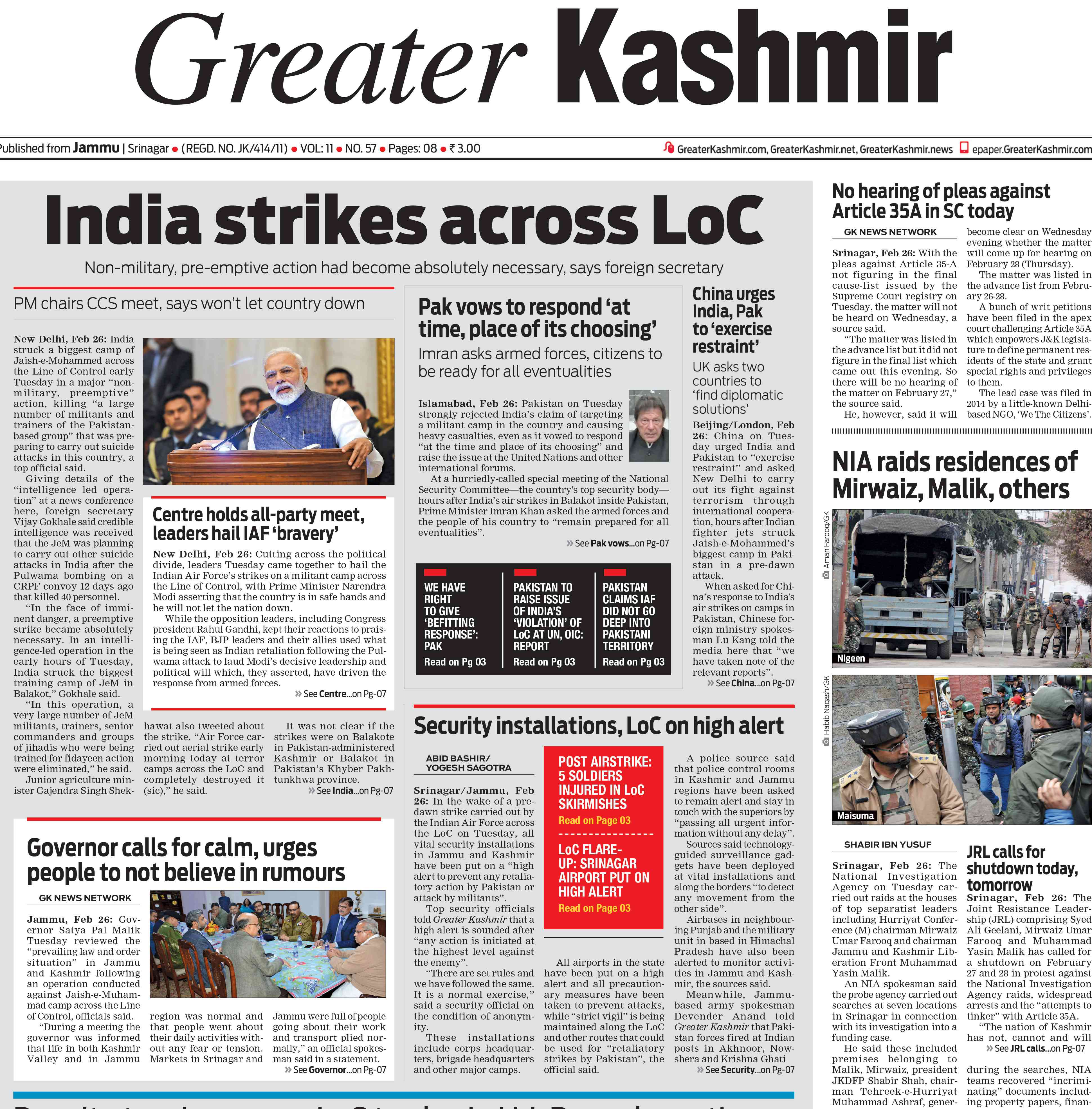 How is the Jaish? Destroyed, sir': What front pages said