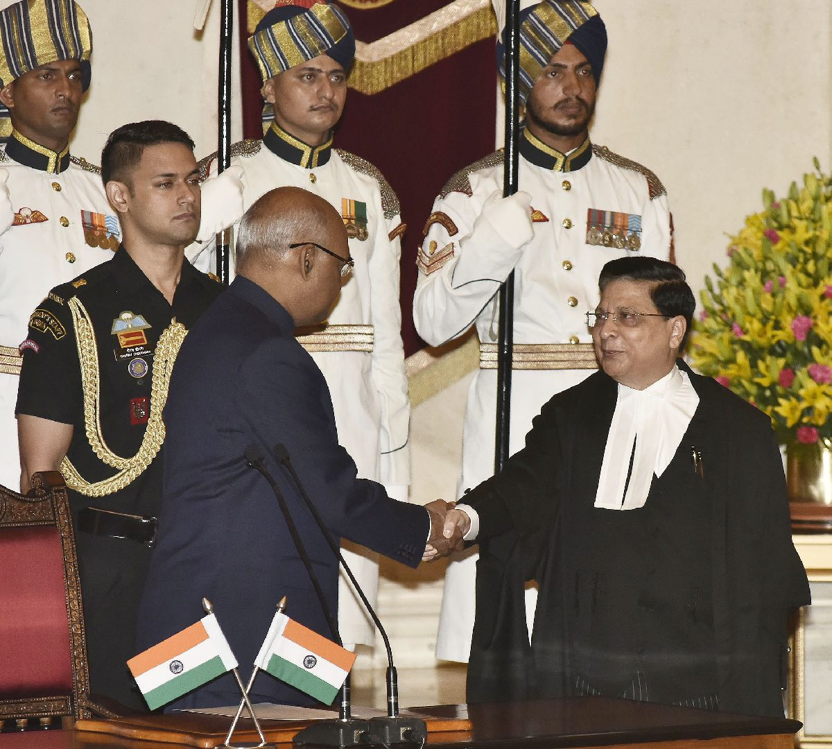 Justice Dipak Misra being sworn in as the chief justice of India. Image: PIB