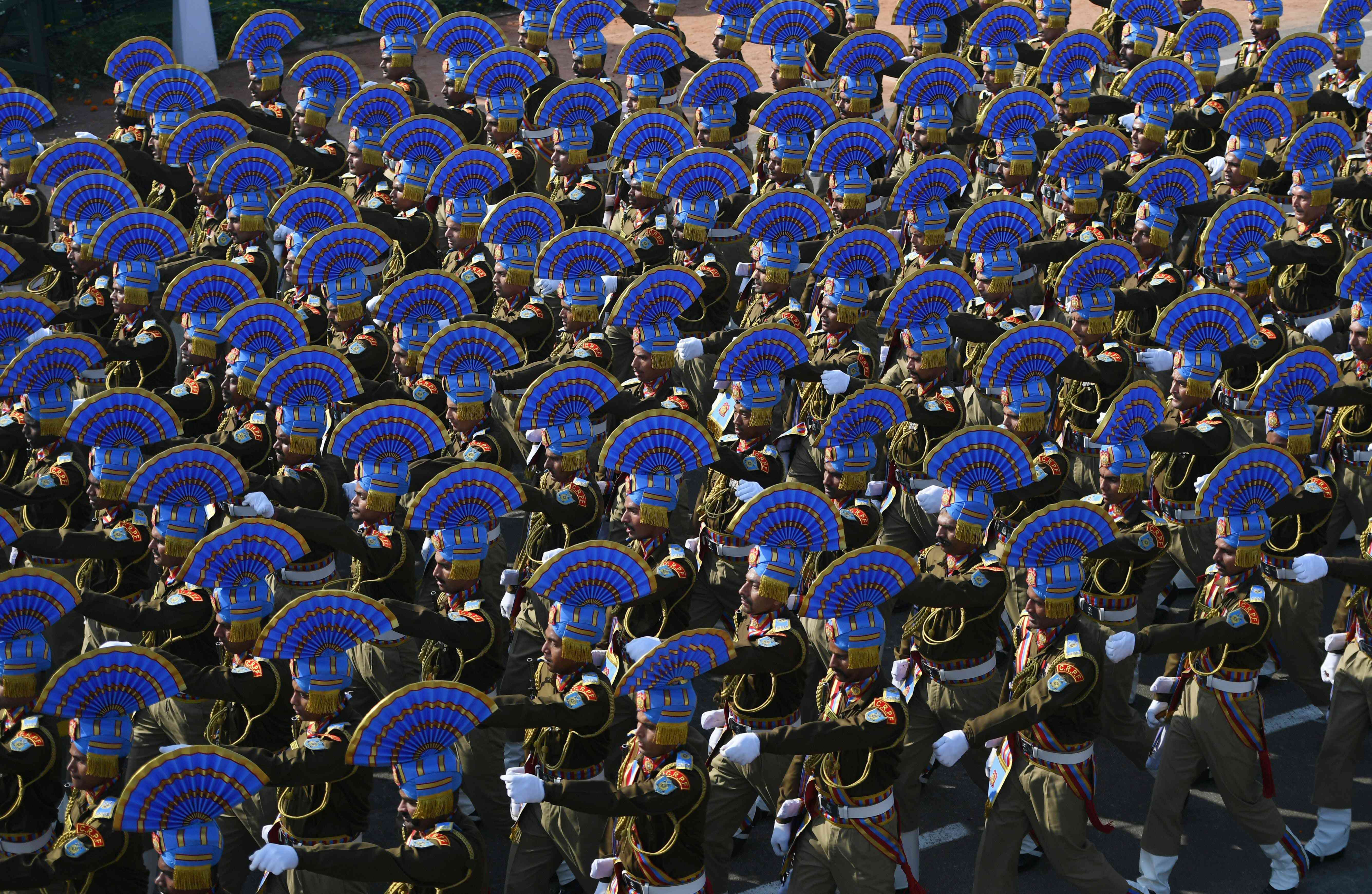 The Central Reserve Police Force contingent marches during the Republic Day parade in New Delhi (Photo credit: AFP)