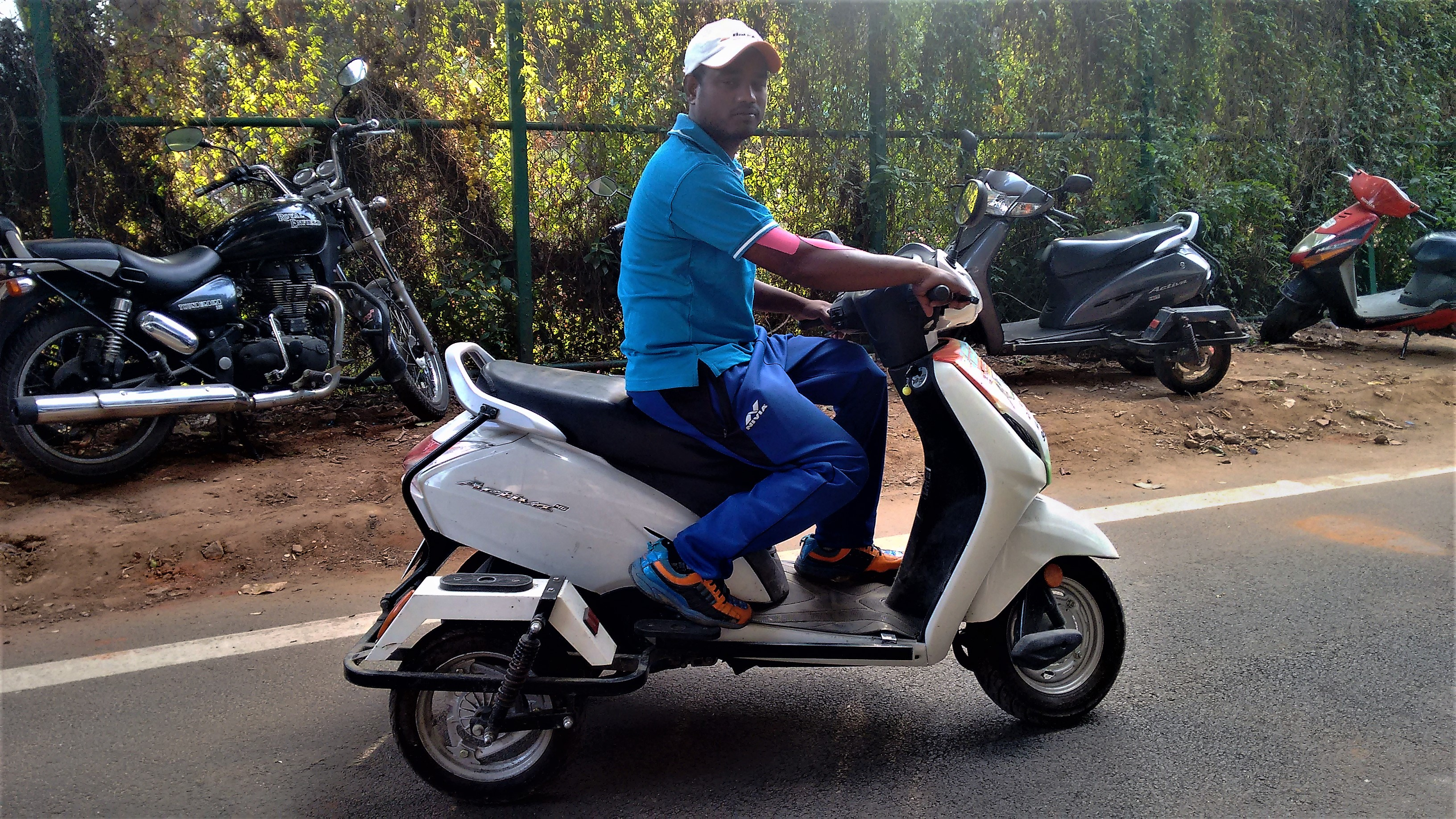 Shekar makes a trip from his home in CKC Nagar to the KSLTA in Cubbon Park with his four-wheeled Honda Activa 4G everyday.