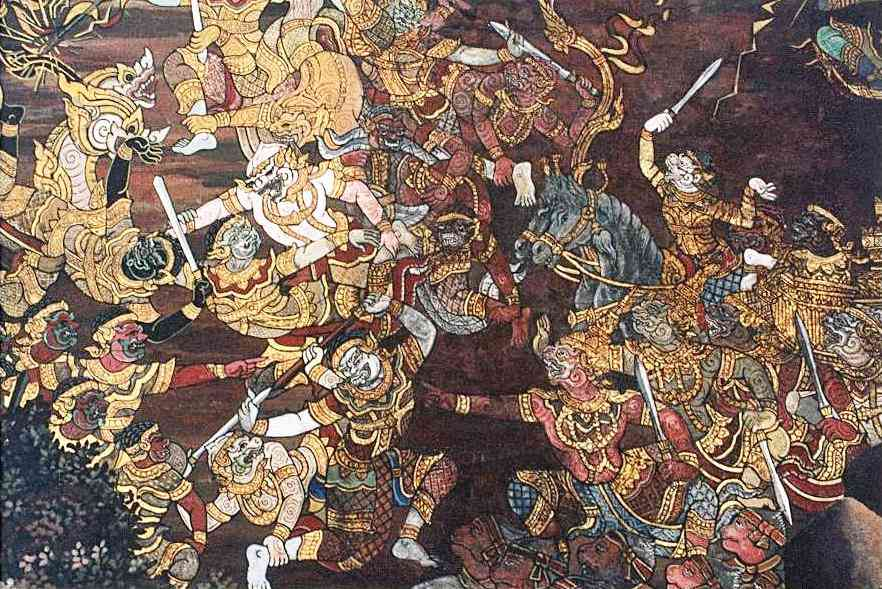 A Thai artwork depicts the battle between the forces of Ram and Ravana. Photo credit: Wikimedia Commons [Public Domain].