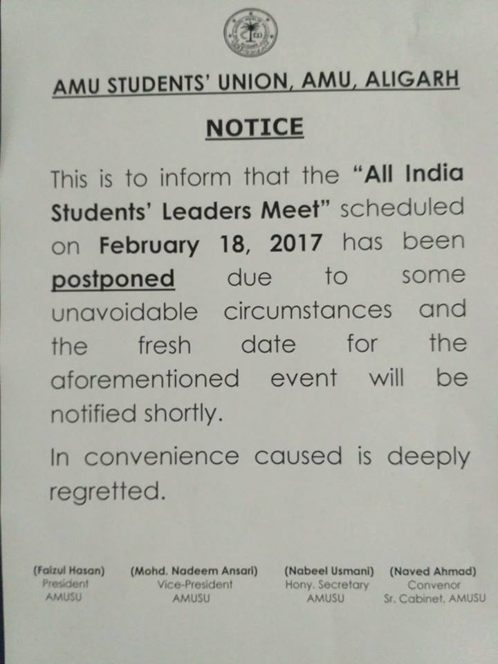 Notice announcing postponement of the leaders' meet Image credit: Facebook/ Faizul Hasan