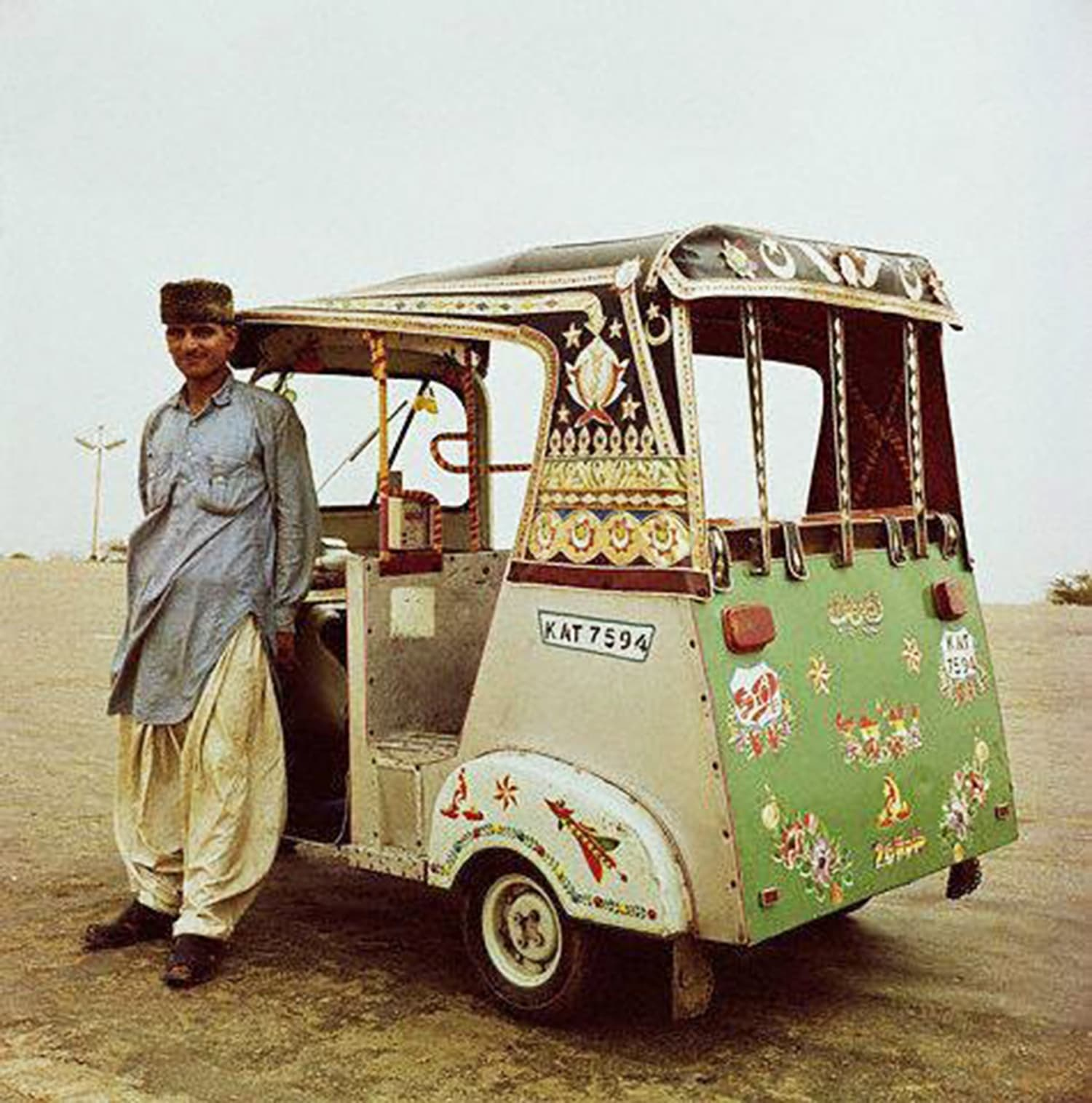 A Pakhtun rickshaw driver in Karachi's Clifton area in 1963. The economic and building boom witnessed during the first phase of the Ayub regime saw the influx of labour arriving in Karachi from Pakistan's NWFP province.