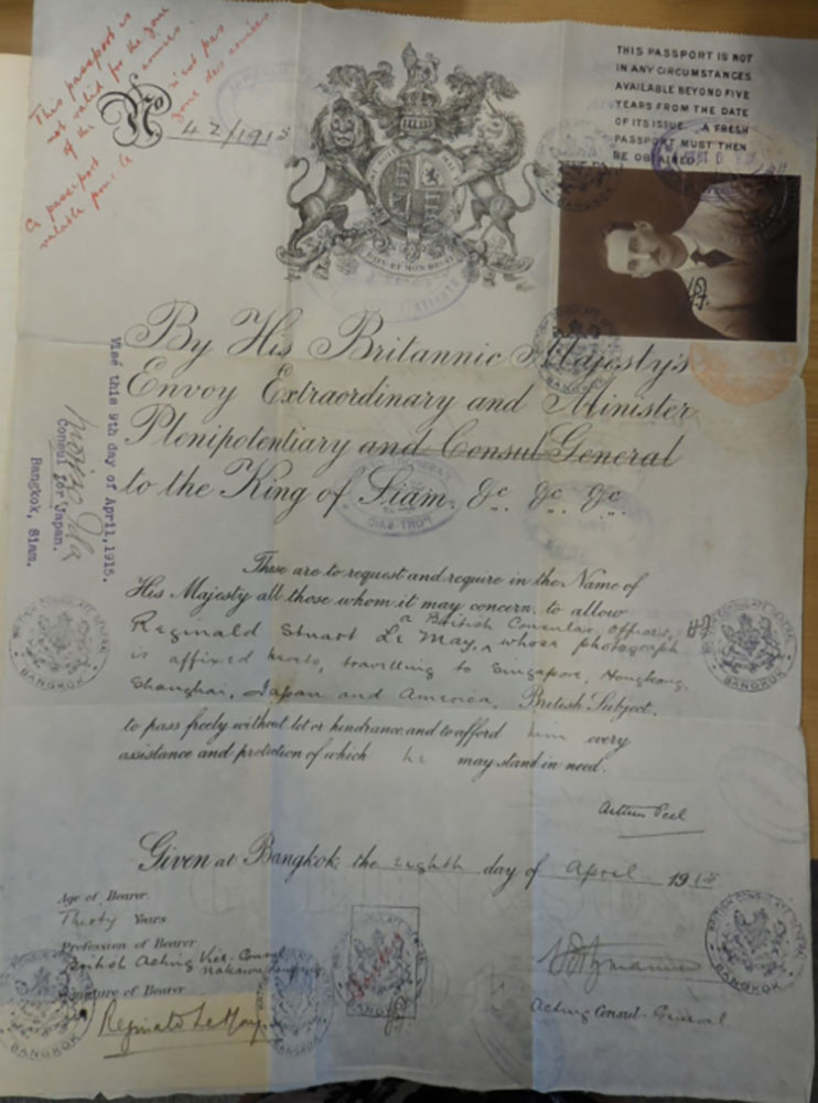 Le May's diplomatic travel document issued in Bangkok in 1915. Photo credit: British Library, MSS Eur C275/4