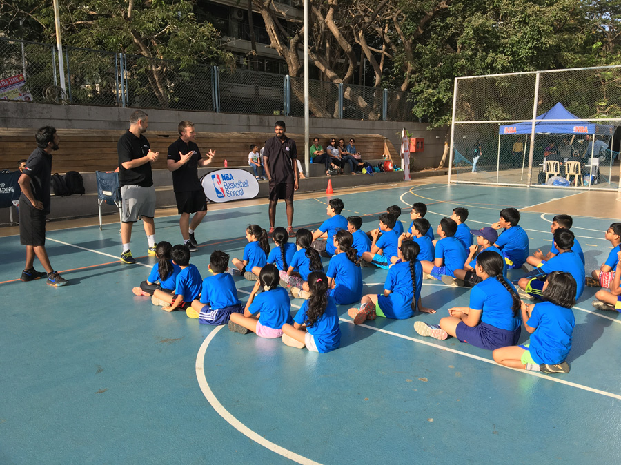 Technical Director, NBA Basketball School, Ryan Burns, conducts a session at the NBA Basketball School in Mumbai, India. Image credit: NBA India