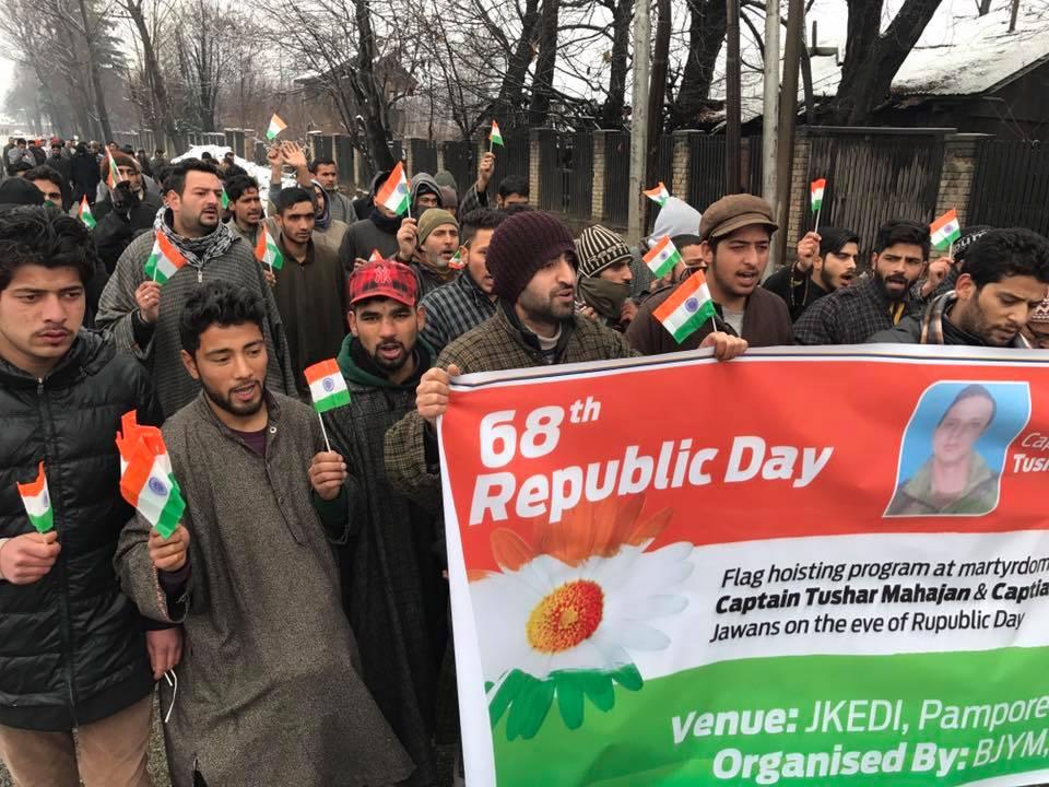 The Bharatiya Janata Yuva Morcha's Republic Day programme in Kashmir. Image Credit: Aijaz Hussain (BJYM vice-president) /Facebook