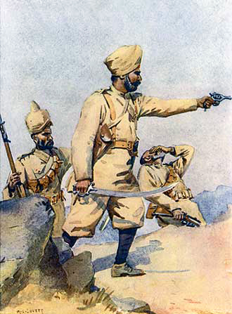 24th Punjabis. Watercolour by Major Alfred Crowdy Lovett, 1910. Image credit: Wikimedia Commons [Public Domain]