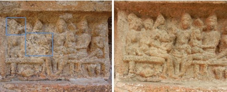 King Dasarath and his queens, after and before water-blasting at the Kumbakonam temple. Credit: India Pride Project