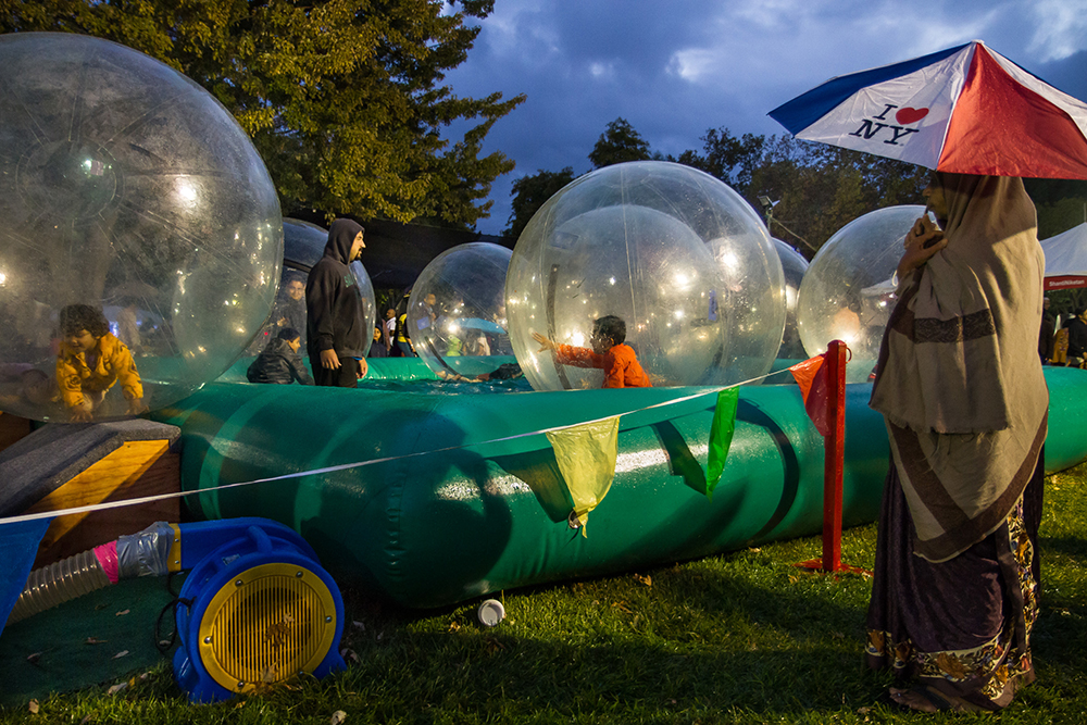 Pleasanton, California: Kids play in bubble rollers at the Alameda County Fairgrounds.