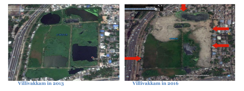 The 20 acres that are left of the Konnur Lake. Credit: Social Audit report of Specific Stretches on Chennai Waterways by Arappor Iyakkam