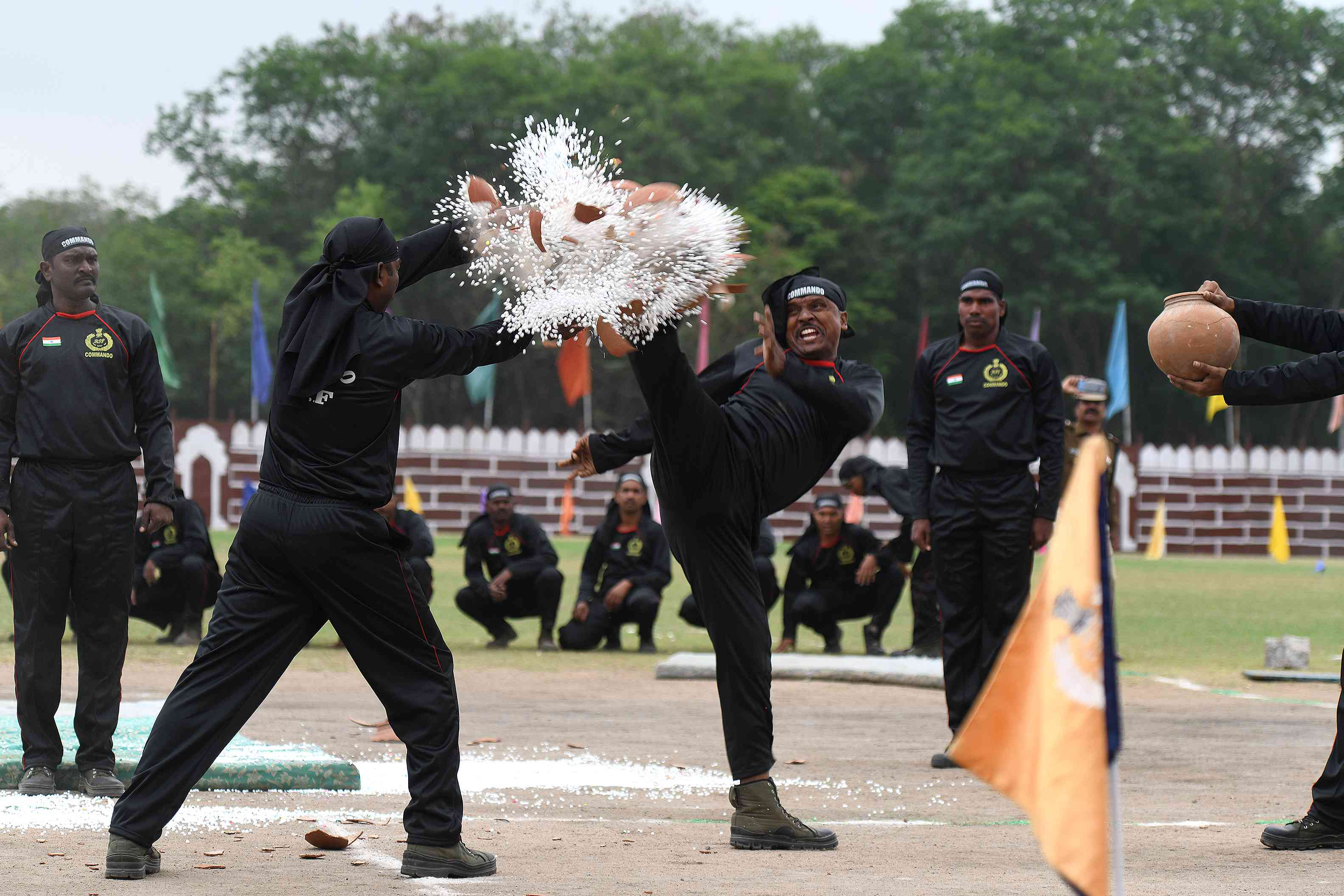 Railway Protection Force commandos perform stunts during Republic Day celebrations in Secunderabad (Photo credit: AFP)