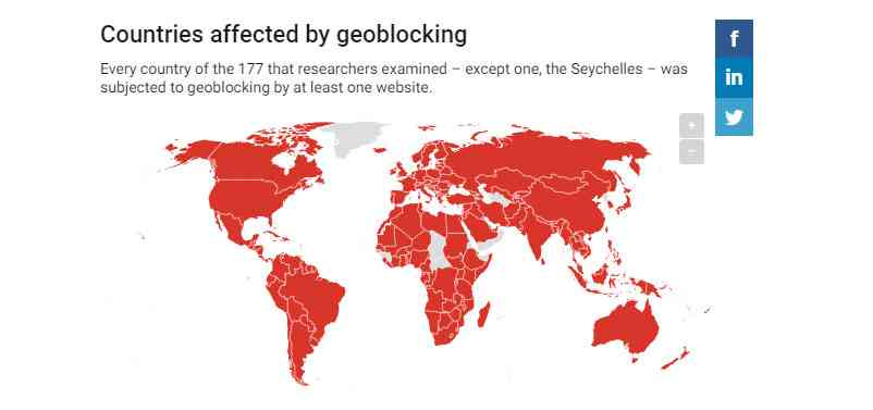 Countries in gray were not examined in the geoblocking study. Source: Allison McDonald, University of Michigan