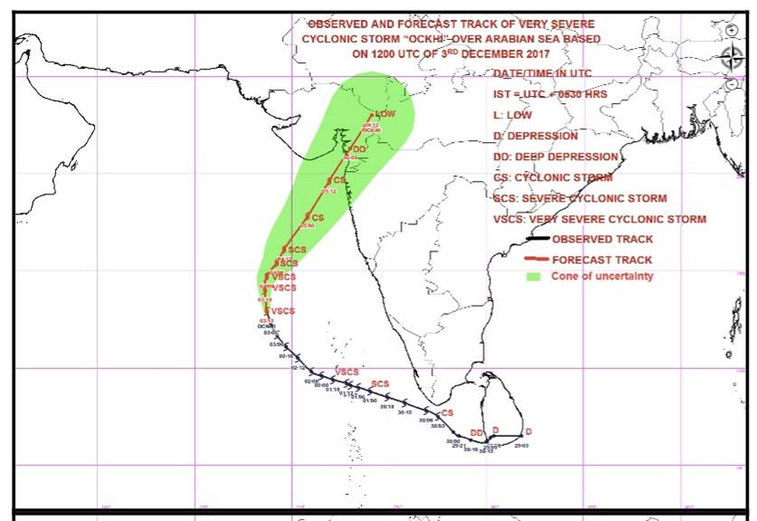 This image from the India Meteorological Department shows observed and forecasted tracks for Cyclone Ockhi on December 3. The green cone shows possible tracks for the cyclone, part of which includes Mumbai.
