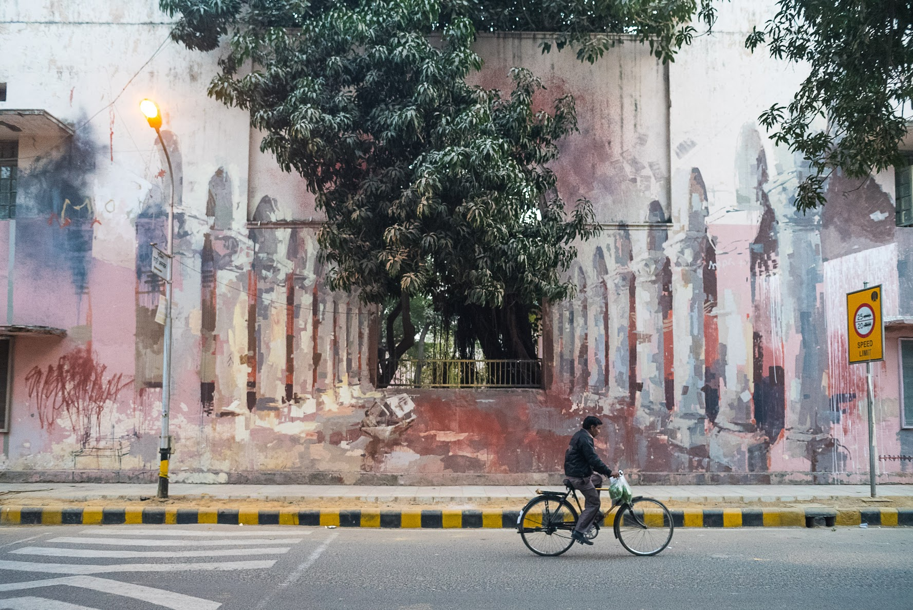 'The Origin Of The World' by Spanish artist Borondo, Block 11, Lodhi Colony.  (Photograph: Naman Saraiya).
