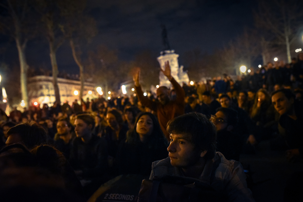 The General Assembly of Nuit debout. Place de la République, April 2016.
